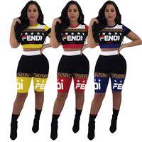 leggings de verão colhidos venda por atacado-FF Mulheres Outfit Designer de Fatos de Treino de Star Trek top T-shirt + Shorts fends Leggings Verão 2 Peça Set Sportswear Jogger desgaste C61001