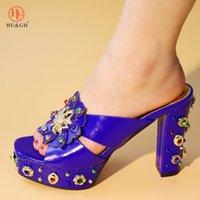 насосы для дам оптовых-2019 новый синий цвет нигерийские сексуальные женские итальянские туфли женские туфли со стразами женские туфли на высоком каблуке африканские сандалии обувь для вечеринок