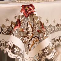 крышка для белой ткани оптовых-Вышивка выдолбленная скатерть эллипс / прямоугольник скатерть бегун стул крышка отеля столовая свадьба домашнего декора