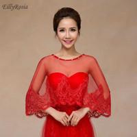 kırmızı bolero elbisesi toptan satış-Kırmızı Aplikler Düğün Burunları Yaz Rhinestones Beyaz Dantel Parti Elbise için Bolero Bolero Akşam Pelerin para casamento Kadınlar