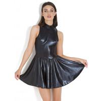 regenschirm sexy großhandel-Neue Frauen Kunstleder Kleid Plus Size Sexy Halbarm Kragen Kleid Damen Elegante Kleidung Schwarzer Regenschirm Rock