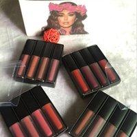 barras de labios marrones al por mayor-Juego de brillo labial Líquido Kit de lápiz labial The Red Nude Brown Pink Edition Mini líquido mate lápiz labial 4pcs / set (4 x 1.9ml)