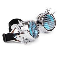 gümüş mavi cam gözlükler toptan satış-Steampunk Gözlük Gümüş Perçin Gözlük Mavi Temizle Cam Lens Ile Mesh Cosplay Vintage Gözlük Kaynak Erkek Kadın Gotik Gözlük