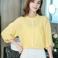 ingrosso camicia a maniche gialle-Harajuku New Spring Summer Camicetta Donna Puff Sleeve Camicie Moda Leisure Chiffon Shirt Ruffle Office Ladies Yellow White Tops
