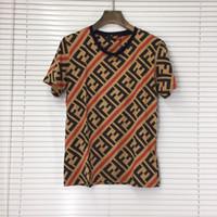 Wholesale business tee shirts resale online - Men F Letter business T shirt designer short sleeves women unisex striped classic T shirt lover shirts tops Tee LJJA2573