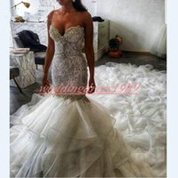Wholesale vestido coral pink organza resale online - Exquisite Mermaid Crystal Lace Wedding Dresses Arabic Plus Size Sweetheart Organza Bridal Gown Vestido Mermaid Bride Dress Arabic Long Train
