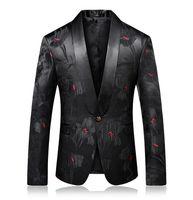 chaquetas de lunares al por mayor-Red Dot Imprimir Blazer Chaqueta de lujo para hombre Chaqueta de la chaqueta de los trajes de la etapa Terno masculino Fiesta de boda elegante traje chaqueta