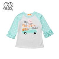 blusas com babados venda por atacado-Adorável Bonito Do Bebê Do Dia Das Bruxas Menina Menina Manga Longa Ruffles Polka Dot Remendo Cor Tops Camisa Outfit Roupas Impresso Blusa Outono