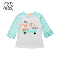 blusas con volantes de chicas al por mayor-Adorable Lindo Bebé de Halloween para Niños Niña de Manga Larga Ruffles Lunares Color Parches Tops Camisa Outfit Impreso Blusa Ropa Otoño