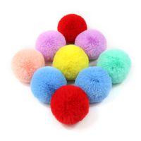 ingrosso cappelli dei capelli piccoli-Prezzo di fabbrica! 10PCS fai da te personalizzati Multicolor Faux Fur Pompon capelli della sfera 8CM piccolo fiocchetto Elastico Cappelli Accessori Abbigliamento