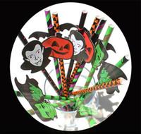 paletas de palha de papel venda por atacado-25 pçs / lote Halloween Canudos De Papel Engraçado Abóbora Fantasma Dos Desenhos Animados Palha Stripe Paper Otário para Decoração de Halloween Beber Suco de Coquetel