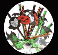 pajitas de papel coctel al por mayor-25 unids / lote Pajitas de papel de Halloween Calabaza divertida Fantasma de dibujos animados Raya de paja Lechón de papel para la decoración de Halloween Beber jugo de cóctel