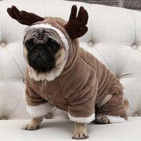 köpek tulumu toptan satış-Küçük Köpekler Noel Köpek Kostüm Jumpsuit Köpek Coat Ceket Chihuahua Pug Giyim Sonbahar Kış Sıcak Polar Pet Köpek Giyim