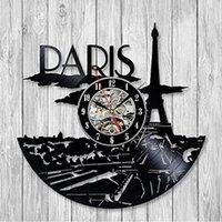 paris zimmer dekor großhandel-2019 Neues Design Frankreich Paris Skyline Vinyl Musik Rekord Wanduhr Einzigartige Moderne Kunst Zimmer Hotel Decor 3D Hängen Uhren