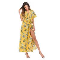 Wholesale asymmetrical dress flared skirt for sale - Group buy 2019 Women Dresses V neck Short sleeve Split Flower Dresses Lady Summer Vacation Beach Skirt Girl Casual Bohemian Chiffon Long Dresses