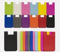 Wholesale wallet phone case mix online – custom Cell Phone Wallet Silicone Adhesive Stick on Wallet Case for Credit Card Ultra Slim Id Holder Wallet Pouch Sleeve Pocket