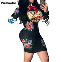 ingrosso ha stampato il vestito dal collare del peter del pan-Abito da donna di marca Slim Hip Fashion Fashion Colletto di Peter Pan Donna manica lunga Sexy Club Mini Party Princess Dress Vestidos