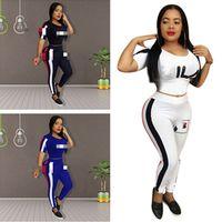 Wholesale girls brand tracksuits resale online - Luxury Fils FIL Designer Tracksuit Women Two Piece Outfits Striped T shirt Crop Tops Leggings Pants Bodysuit Brand Sportswear Cloth C61807