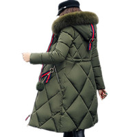Wholesale bamboo stitch knitting for sale - Group buy Big fur winter coat thickened parka women stitching slim long winter coat down cotton ladies down parka down jacket women Thick Long