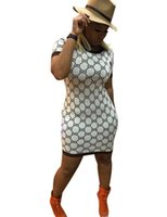 sexy mini vestidos marrones al por mayor-2019 señoras del verano causal camiseta de manga corta vestido delgado atractivo del estilo mini vestido ajustado de clásico partido de los vestidos de Brown White Robe Femme de la vendimia