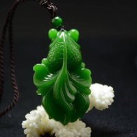 Wholesale jadeite jade carving resale online - Chinese Exquisite Natural Jadeite Goldfish Hand carved Jadeite Jade Carved Goldfish Pendant