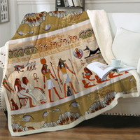 Wholesale egyptian beds for sale - Group buy Fleece Blanket Ancient Egyptian Civilization Throw Blanket African Soft Blankets For Beds Characters Linen Blanket