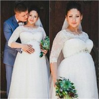 Wholesale line wedding dresses for pregnant women resale online - Vintage Crystal Lace Wedding Dresses For Pregnant Woman Half Sleeves Sheer Neck Ivory Plus Size Maternity Bridal Gowns with Wed Dress Wed