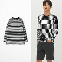 kore şeridi toptan satış-Kore Moda Gelgit Marka Retro Siyah Beyaz Şerit Komik T Shirt X Hunter Tokyo Ghoul T Gömlek Uzun Kollu Erkekler Pamuk Kalitesi Tee