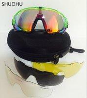 bisiklet sporu güneş gözlükleri toptan satış-Erkek Kadın Spor Bisiklet Gözlük Bisiklet Koşu Mens Güneş gözlükleri için 5 Lens Marka Polarize Jawbreaker Güneş gözlükleri ile Toptan-Güneş Gözlükleri
