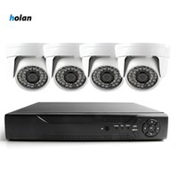 Wholesale video surveillance dvr kit resale online - 4CH AHD CCTV Home Security Camera System Kit Waterproof Intdoor dome Night Vision IR Cut DVR CCTV Home Surveillance P Black White Camera