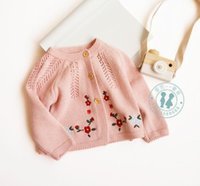 Wholesale fall clothes for sale - INS baby kids clothing sweater Flower Embroidery Knitted Cardigan sweater Cotton Boutique cotton spring fall Girl sweater