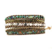 ювелирные изделия с золотым слоем оптовых-Top Quality Mixed Stones Gold  5 Layered Leather Wrap Bracelets Antique Weaving Bracelet Dropship Jewelry