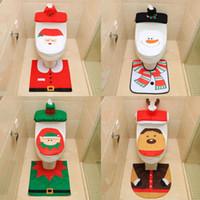 Wholesale toilet lid set for sale - Group buy 3pcs set Christmas toilet lid cover home decorations for snowman Santa Claus toilet lid cover New Year Xmas Christmas ornaments