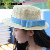 Wholesale white straw hats for girls resale online - sun flat straw hat boater hat girls bow summer Hats For Women Beach flat panama straw hat chapeau femme cm C19011401