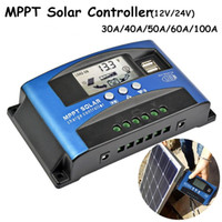 lcd mppt solar venda por atacado-1 Pc Display LCD MPPT Carregador Solar Controlador de Bateria Do Painel Solar Regulador Inteligente 12 V / 24 V Painel Solar Power Controller USB Móvel Pho