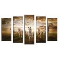 ingrosso idee di arti-5 pezzi dipinti murali casa decorativa moderna cavallo arte combinazione dipinti per la casa idea creativa decor no incorniciato! Tela