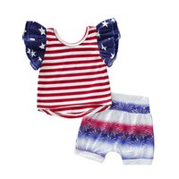 Wholesale flag tops girls for sale - Group buy kids designer clothes girls American flag outfits children Star stripe Tops shorts set th Of July fashion baby Clothing Sets C6671