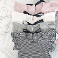 camisa de bebé básica al por mayor-Camiseta casual de verano para niña pequeña Camiseta con volantes para niñas Lovely Baby Pink / White / Grey / Striped Basic Tees Quality Tops
