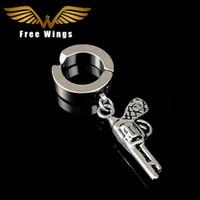 Wholesale gun cuff resale online - Ear Cuff Men Black Silver Titanium Steel Gun Clip On Earrings Without Piercing For Women Earring Cuffs No Pierced d5