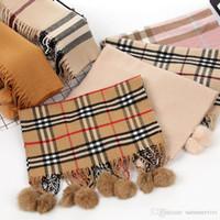 princesa lenço venda por atacado-Crianças manta de lenços de moda meninas falsos pompons de pele de coelho cachecol marca crianças princesa cachecóis xale de inverno meninas lenços quentes A01228
