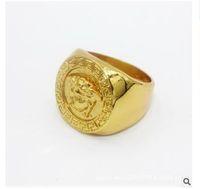 титановые бедра оптовых-Кольцо Mea из нержавеющей стали Горячая распродажа Хип-хоп Титановое кольцо с перстнем из золота Золотая полая мода Кольцо Me