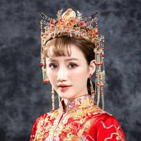 chinese trajes tradicionais mulheres venda por atacado-Tradicional Chinesa Noiva Jóias Cocar de Casamento Mulheres Traje Fotografia Headwear Acessórios Para o Cabelo Retro Rainha Tiaras Coroa