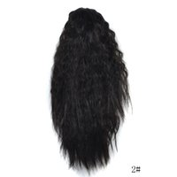ombre ponytail extensões de cabelo sintéticas venda por atacado-Moda feminina Longo Ombre Ondulado Peruca Garra Grosso Ondulado Encaracolado Curto rabo de Cavalo Rabo de Cavalo Clipe Extensões de Cabelo Cosplay Perucas Sintéticas
