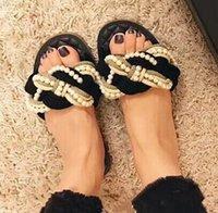 ingrosso donne cc appartamenti-le più nuove donne calde della ragazza della moda CC causale pantofole signora scivolare sandali di perle unisex spiaggia all'aperto infradito scarpe basse