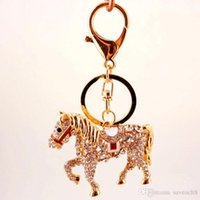 pferd metall auto groihandel-Crystal Horse Keychain Key Chian - Metall Strass Tasche Charme Anhänger Luxus Schlüsselanhänger Auto Schlüsselanhänger Schlüsselanhänger