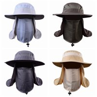 Wholesale sun protection tennis hat resale online - Outdoor Activity Cycling Sun Cap Fishing Hat Unisex Wide Brim Sun Protection Hat With Removable Neck Flap Face Cover ZZA966