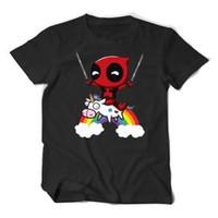 Wholesale minion printing for sale - Group buy Deadpool Minion Riding A Unicorn Rainbow T Shirt Cotton Men T Shirt Funny