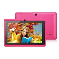 Wholesale tablet pc q88 online - 7 inch MB RAM GB ROM Allwinner A33 Quad Core Android Capacitive Tablet PC Dual Camera Q88