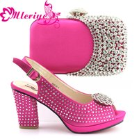 Wholesale ladies italian matching shoe bag resale online - 10119 Shoes and Bag Sets for Women Matching Shoes and Bag Set In Heels Italian Ladies Shoe Set Decorated with Stone