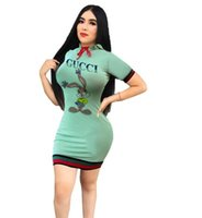 grünes hoodiekleid großhandel-Mode-Sommer Grün Casual Dress sexy Frauen Hoodies Brief drucken gestreiften kurzen Minikleid Damen Mantel, figurbetontes Kleid Party Kleider